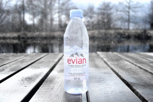 Evian-Wasser available in famous Chelany restaurant here in Berlin